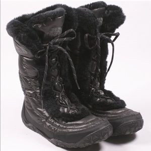 The North Face Black Fur Lace Up Winter Boots 9